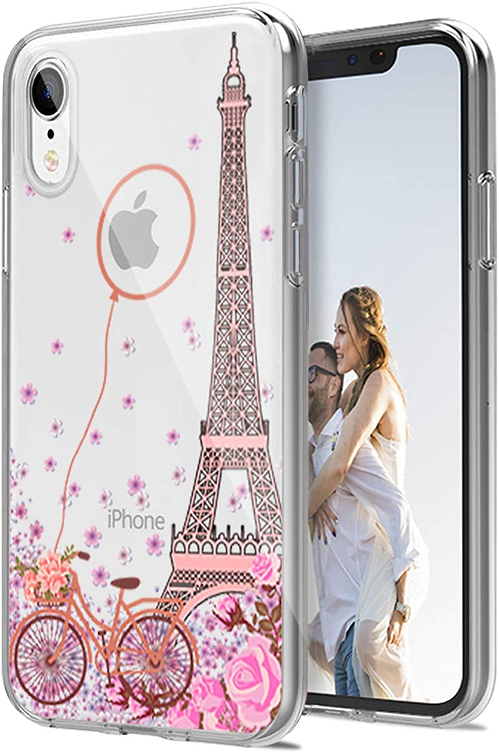 Cocomong Paris Eiffel Tower Clear Phone Case Compatible with iPhone XR Cases for Women Girls Designer Pink Floral Flower Cute Paris Decor Gifts, Slim Fit Thin Soft TPU Silicone Cover Protective 6.1