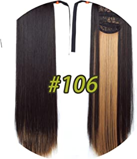world-palm 10 Colors 22'' Long Straight Drawstring Ponytail Black/Blond Heat Resistance Hairpiece Clip In Hair Extension For Woman,106,22inches