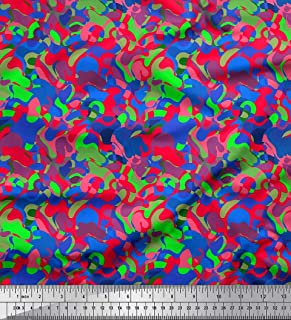 Soimoi Blue Cotton Poplin Fabric Multicolor Camouflage Fabric Prints By Yard 42 Inch Wide