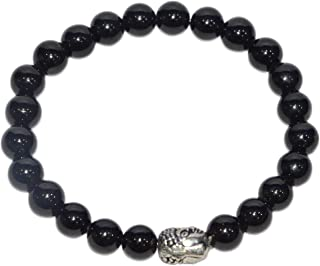 Aatm Natual Healing Gemstone Black Tourmaline Buddha Beaded Charm Bracelet for Healing and Meditation (Beads Size - 7-8 mm)