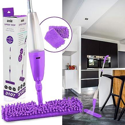 ANSIO Spray Microfibre Floor Mop with Reusable Microfiber Pad (Machine Washable) & Refillable Bottle. Suitable for Wooden, Vinyl, Marble & Tiles Floors - Purple