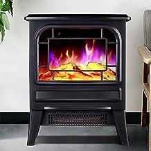 Estufa de chimenea eléctrica infrarroja 3D de 1000/2000 W, calentador de chimenea independiente con efectos de llama realistas, calentador portátil con sistema de seguridad de sobrecalentamiento,Negro