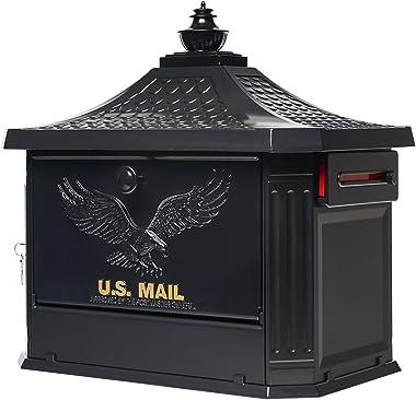 Gibraltar Mailboxes Hamilton Large Capacity Cast Aluminum Black, Post-Mount Mailbox, HM200B00