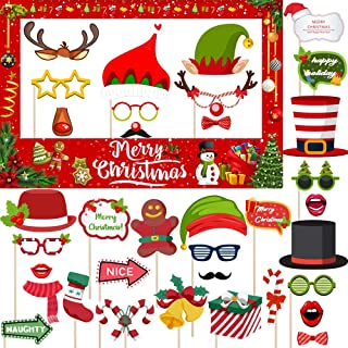 Christmas Photo Booth Prop Frame, 35 Pcs Holiday Photo Booth Props, Christmas Party Supplies For Kids & Adults New Year Party Decorations by jocacti