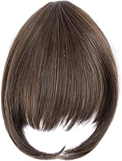 Ty.Hermenlisa Synthetic Clip in Hair Bang Extensions Heat Resistant Short Straight Fringe Hairpiece Accessory, 1Pc, 20g, Zooey-Chocolate Brown(#F30.6H)