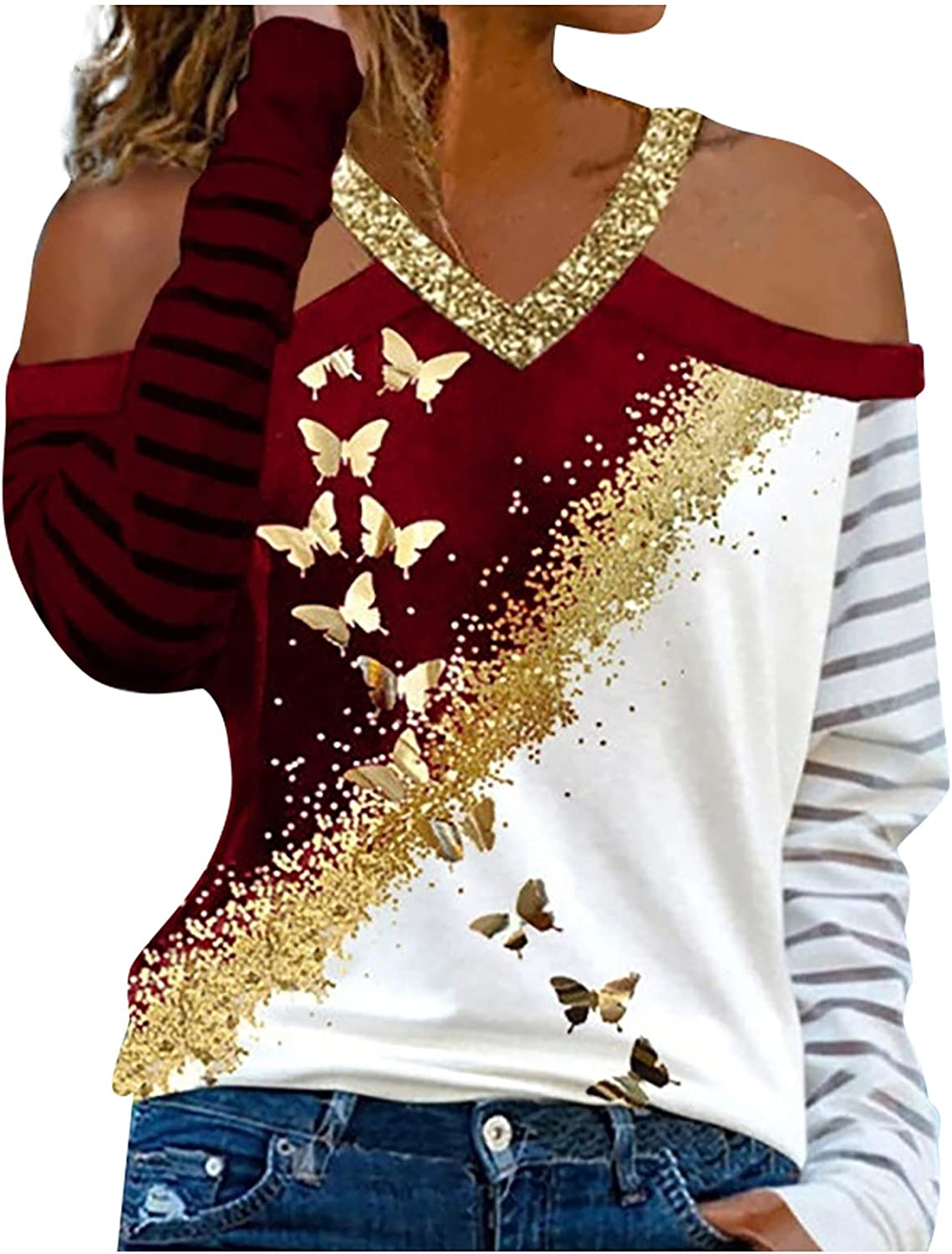 Fashion Women V-Neck Printed Long Sleeves Off Shoulder Blouses Casual Tops