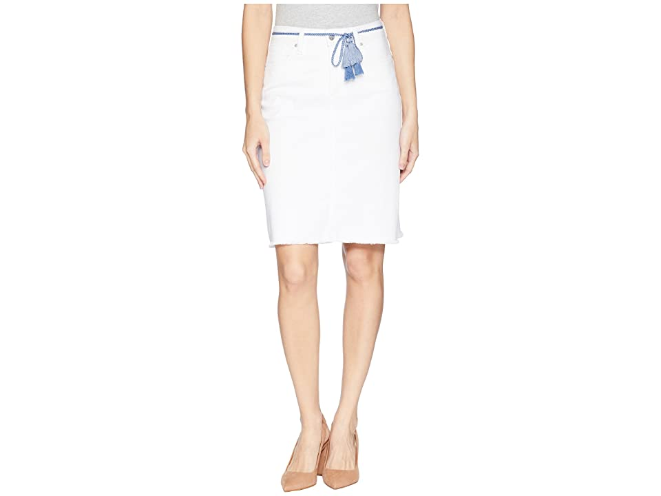 NYDJ Five-Pocket Skirt w/ Tassel Belt (Optic White) Women's Skirt