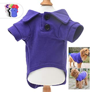 Lovelonglong Basic Dog Polo Shirts Premium Cotton, Polo T-Shirts for Large Medium Small Dogs with a Two-Button Collar Blank Color