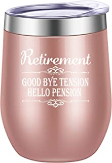 Pufuny Retirement Gift Stemless Wine Glass for Women, Goodbye Tension, Hello Pension Etched Wine Tumbler 12 oz