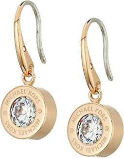 Cubic Zirconium Logo Drop Earrings