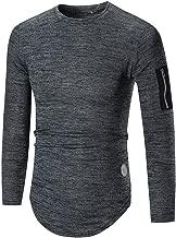 Men Pleated Sleeve T-Shirt Men Long Sleeve Hooded Sweatshirt Tops