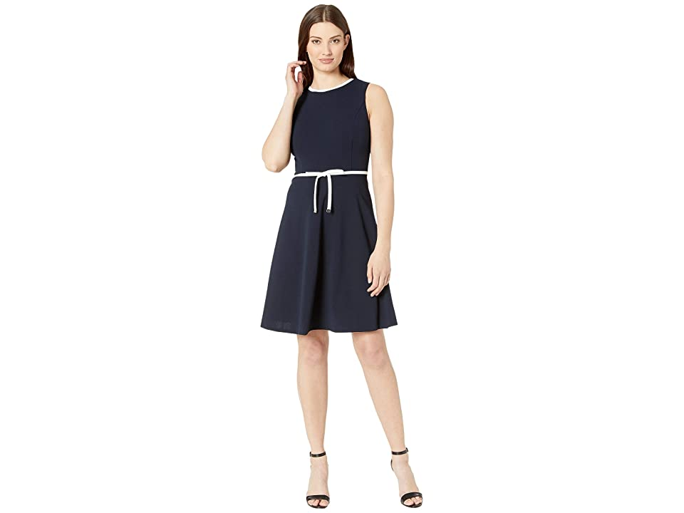 Tommy Hilfiger Scuba Crepe Bow Wait Fit and Flare Dress (Sky Captian/Ivory) Women
