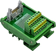 CZH-LABS DIN Rail Mount IDC-14 Male Header Connector Breakout Board Interface Module, IDC Pitch 0.1
