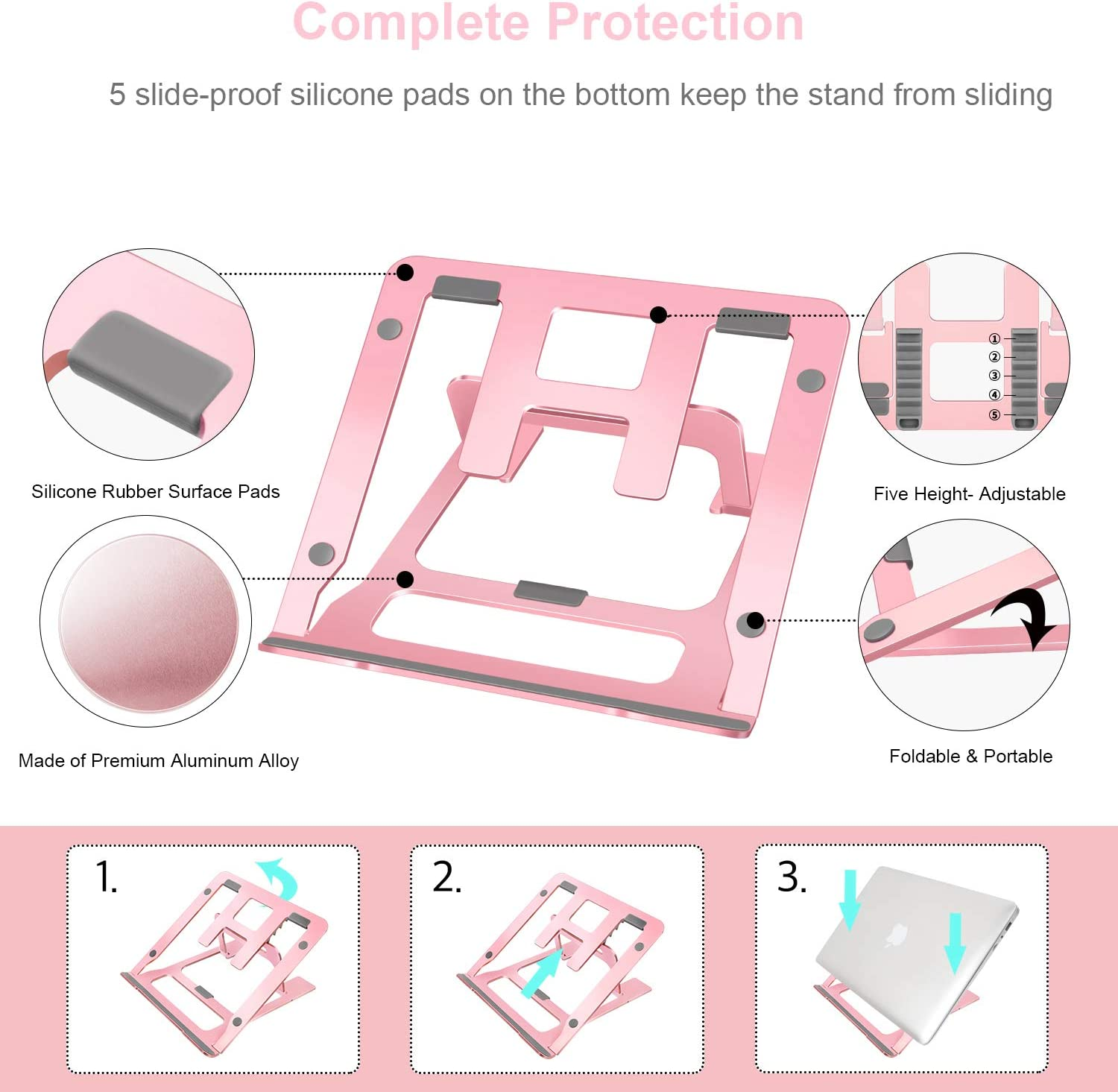Dell Aluminum Multi-Angle Stand Compatible with MacBook Viixm Adjustable Laptop Holder More 10-15.6 Inch PC Notebook Rose Gold Laptop Stand Portable Ergonomic Laptop Riser for Desk HP