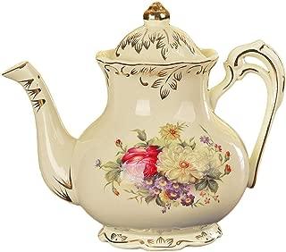VanEnjoy Flora Design Ivory Ceramic Tea Pot,Vintage Floral Teapot,29oz