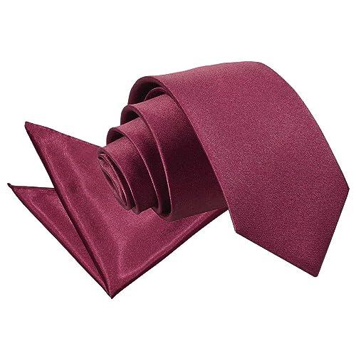 DQT Satin Plain Solid Electric Blue Classic Slim Skinny Tie Hanky Cufflinks