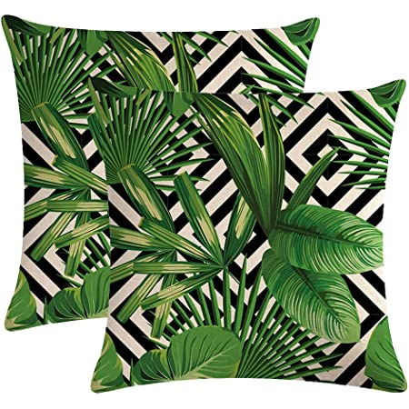 Hgod Designs Palm Leaves Decorative Throw Pillow Cover Case Tropical Palm Leaves Jungle Leaf Cotton Linen Outdoor Pillow Cases Square Standard Cushion Covers For Sofa Couch Bed 18x18 Inch Green Home