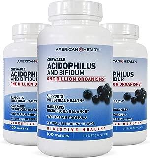 American Health Probiotics Chewable Acidophilus with Bifidus Blueberry 100 wafers - 3PC