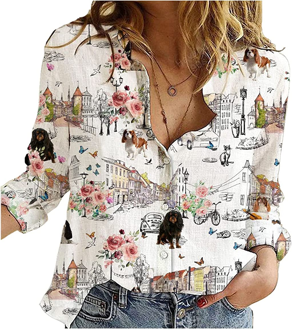 Miami Mall English Toy Spaniel Cotton Selling rankings Linen Shirt Floral Lo Womens Dog City