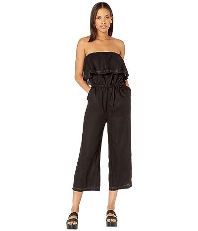 1.STATE Off the Shoulder Ruffle Edge Linen Jumpsuit (Rich Black) Women