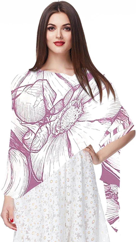 Scarfs for Women Lightweight Fashion Scarves Print Floral Pattern Scarf Shawl Wraps, Pink Flower Vintage