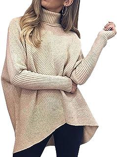 Womens Turtleneck Long Sleeve Sweater Irregular Hem...