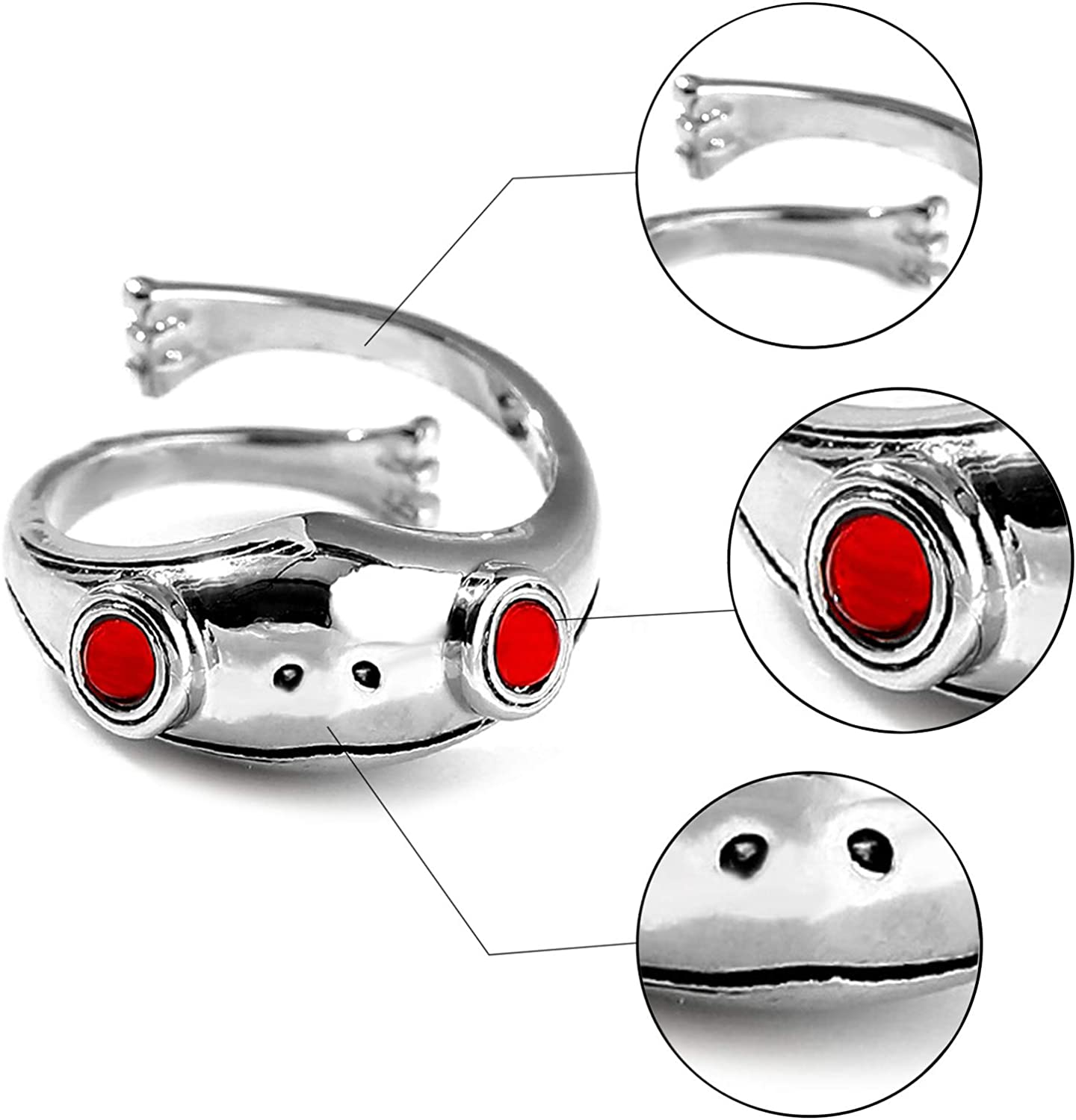 QUEBEAR Women Girls Frog Rings Real 925 Sterling Silver Openning Adjustable Finger Ring Fashion Party Jewelry Silver