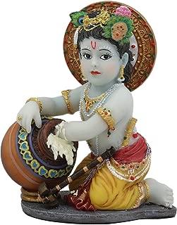Ebros Hindu God Baby Krishna Vishnu Stealing Butter Yogurt and Milk from The Gopis Statue 4.25