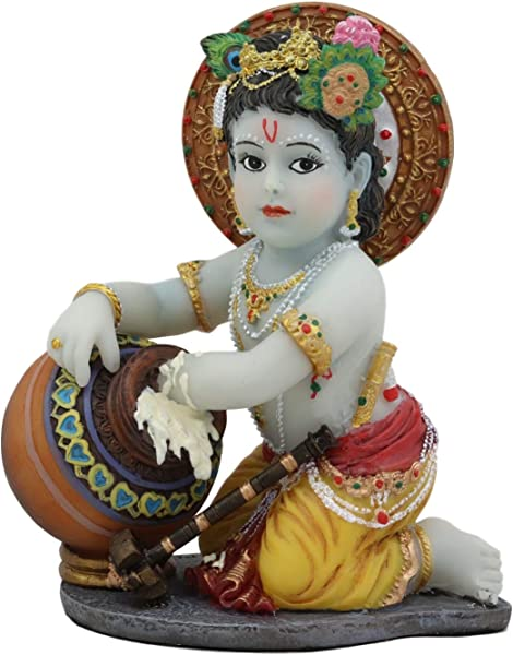 Ebros Hindu God Baby Krishna Vishnu Stealing Butter Yogurt And Milk From The Gopis Statue 4 25 High Eastern Enlightenment Hinduism Avatar Deity Gods Chitta Chora Stealer Of Hearts