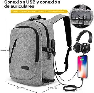 Mochila antirrobo, Mochila Daypack de 30L con puerto de carga USB Interfaz para auriculares y bloqueo con contraseña, mochila impermeable a diario, mochila para portátil de 12-16 pulgadas, estudiantes (Gris) (Gris)