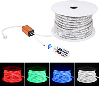 Brillihood Flexible LED RGB Rope Light Strip, Multi Color Changing SMD 5050 LEDs, 110-120V AC, Dimmable, Waterproof, Indoor/Outdoor Rope Lighting + Remote Controller - (50m/164ft)