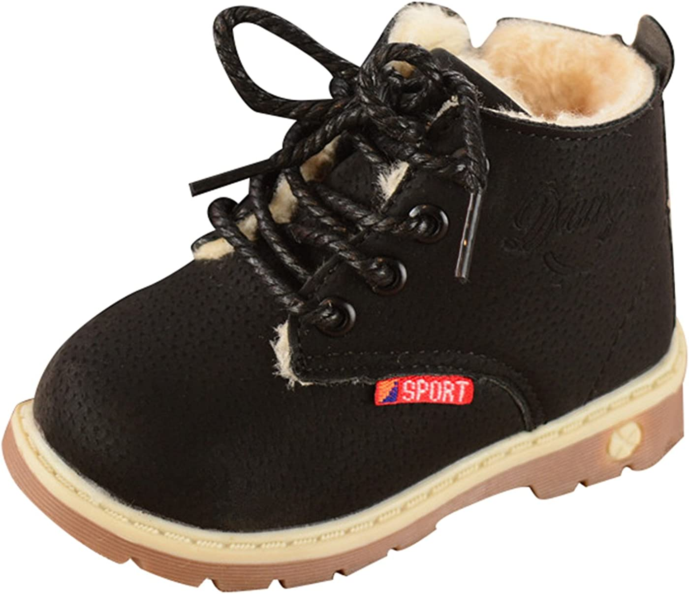 Happy Cherry Toddler British Style Ankle Boots Fur Lined Warm Sh