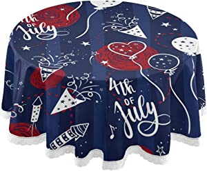 4Th of July Round Tablecloth 60 Inch Lace Table Cloth Table Cover for Kitchen Dinning Tabletop Decor