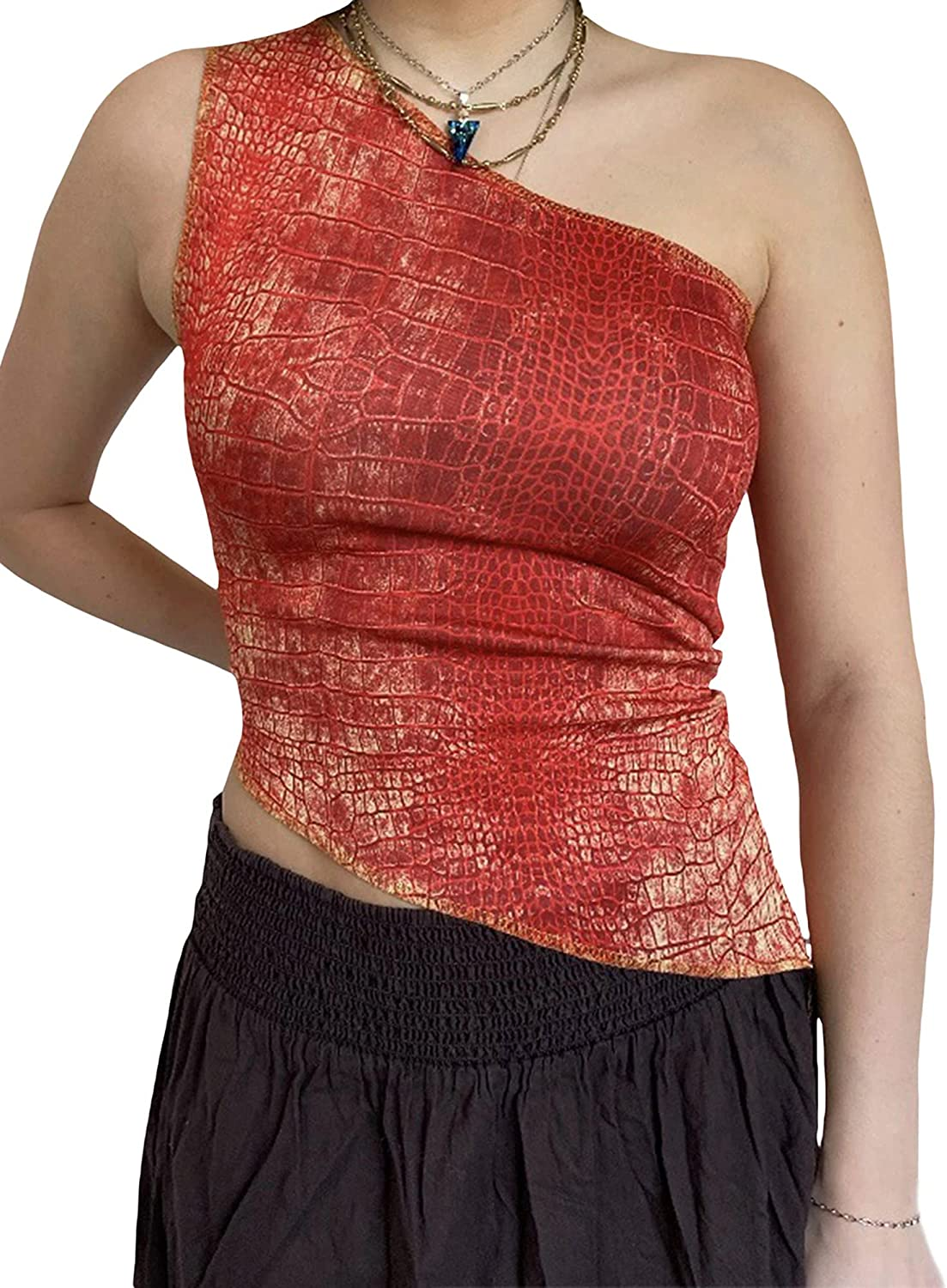 Crop Tops for Women Y2K Sexy One Shoulder Sleeveless Vest Basic Slim Bodycon Tees Fashion Exposed Navel Tops (Red Crocodile Pattern, Medium)