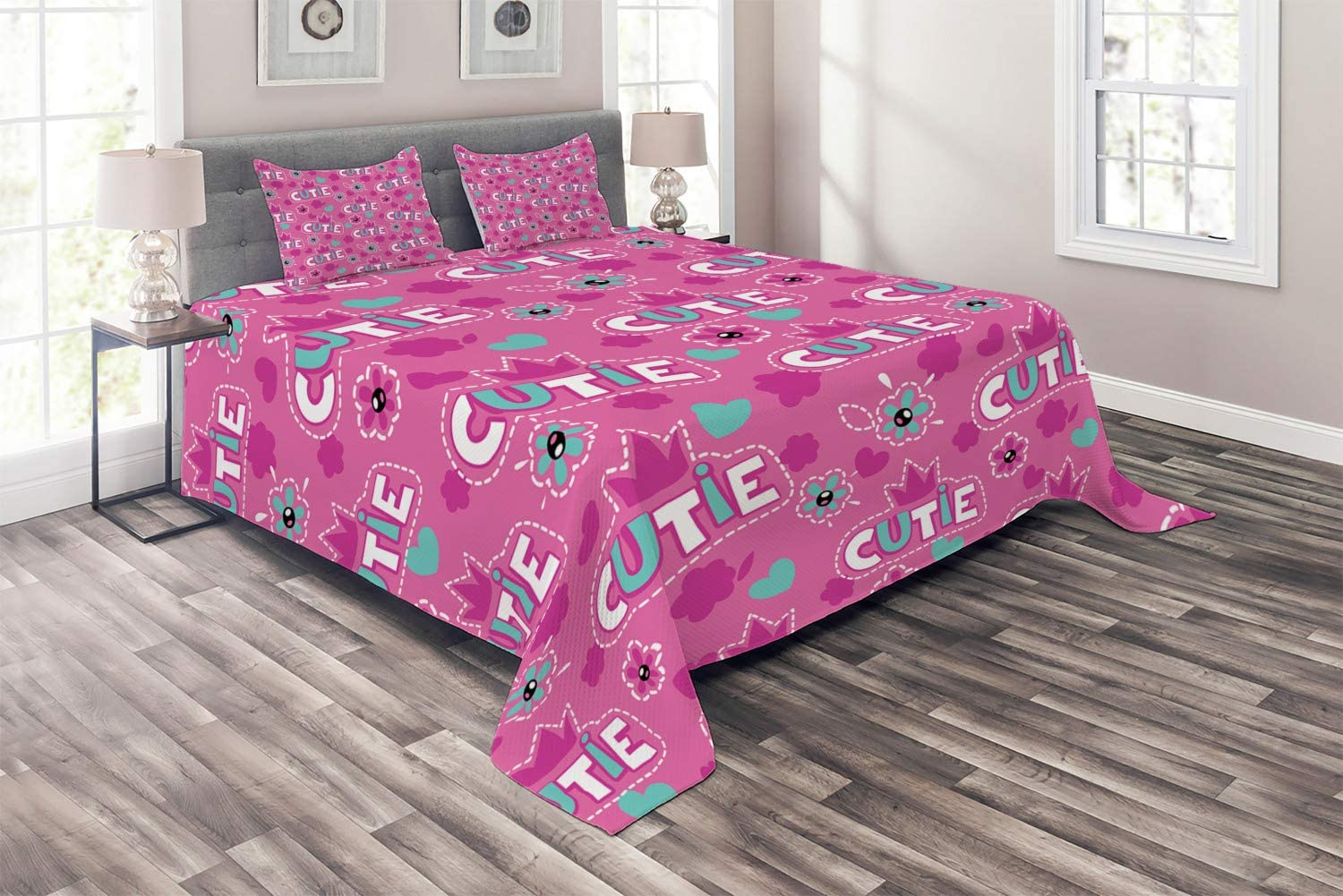 Bombing free shipping Ambesonne Feminine Coverlet Cutie Crown Pattern Lettering Popular brand in the world with
