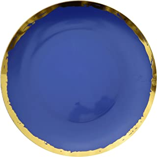 Trendables Premium 10.25 inch. Disposable Plastic Plates, Food Grade Plastic Dinner Plates - Glam Design - 40 Pack