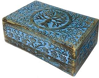 دنيوي الرئيسية خمر البالية الأزرق خشبي التذكار صندوق مجوهرات مع متمحور غطاء، الديكور شجرة منقوش بالغرف، حلية صندوق للسيدا...