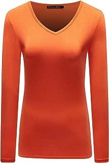 OThread & Co. Women's Long Sleeve T-Shirt V-Neck Basic Layer Spandex Shirts