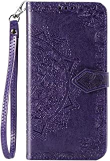 Honor Play 4T Pro Cover folding,Hllycr Protective Purse ケース for Huawei Honor Play 4T Pro 手帳型 ポーチ ID&クレジットカードホルダー - Purple