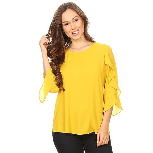 Yellow Chiffon Blouse: Amazon com