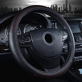 Labbyway Car Steering Wheel Cover Microfiber Leather Universal 15-inch,Anti-Slip,Odorless,Four Seasons Universal (Black)