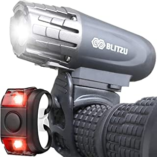 BLITZU USB Rechargeable Bike Light Set Gator 320 Powerful Front and Back Lights, Bicycle Accessories for Night Riding, Cycling - Headlight Tail Rear Reflectors for Kids, Road, Mountain Bikes