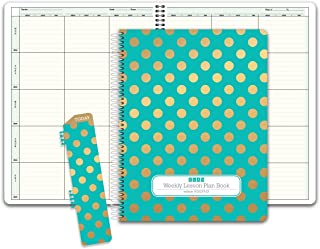 HARDCOVER 6 Period Teacher Lesson Plan; Days Vertically Down The Side (W202) (+) Bonus Clip-in Bookmark (Gold Dots Turquoise)
