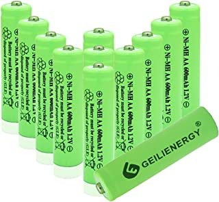 Geilienergy NiMH AA 600mAh 1.2V Rechargeable Batteries for Solar Lights, Garden Lights, Remotes, Mice(Pack of 12)