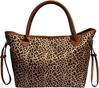 Buffalo Plaid Tote Bag Leopard Print Shoulder Bags with Polyester Lining