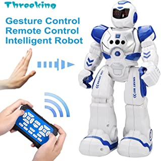 Smart Robot Toys Threeking Gesture Control & Remote Control Robot Gift for Boys Girls Kid's Companion:Game Fun Learning Music Dance Etc.Rechargeable Smart Robot Kit