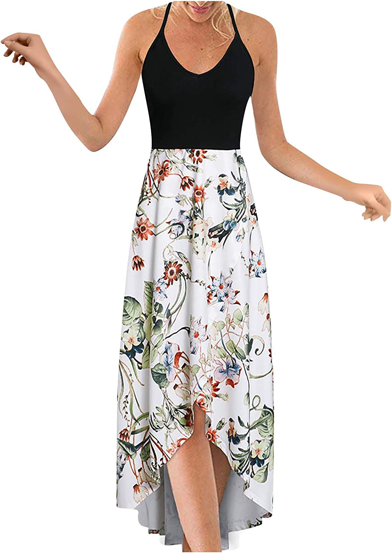 Boho Dress for Women,Women's Floral Elegant Sleeveless Maxi Dress Summer Casual Sundress Beach Party Dress