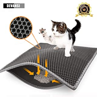 Devansi Cat Litter Mat Litter Trapper Large Size 60cm X 40cm,  Honeycomb Double-Layer Design Waterproof Urine Proof Material,  Easy Clean Scatter Control (Gray)