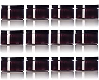 Amber 4 Oz Plastic Jar Black Lid - Pack of 12