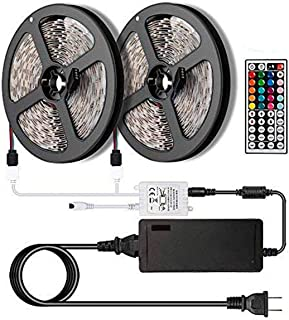 [NEW 2018] LED Strip Lights Kit 2-Pack x 5M - 32.8ft (10M) 300 LEDs SMD 5050 RGB Light with 44 Key Remote Controller- Extra Adhesive 3M Tape, Flexible Changing Multi-Color Lighting Strips for TV, Room